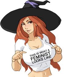 breasts cleavage clothes_writing dragon's_crown drawfag female hat huge_breasts lips mega_milk midriff navel pointing pointing_at_self red_hair solo sorceress_(dragon's_crown) t-shirt taut_clothes taut_shirt witch_hat