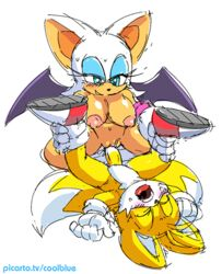 balls breasts coolblue female male penis pussy rouge_the_bat sonic_(series) tails vaginal_penetration