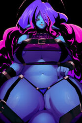 alien big_breasts blue_skin breasts lingerie purple_hair riendonut smile stockings tail thick_thighs