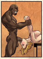 bbc big_breasts big_penis blonde_hair dark-skinned_male dark_skin deepthroat fellatio interracial john_persons rabies-t-lagomorph saliva