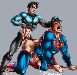 2boys anal bara blush fucked_silly fucked_stupid gay male_only nightwing open_mouth phausto slut spandex superhero superheroes superman yaoi