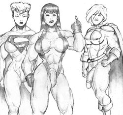 crossover dc futanari marvel power_girl she-hulk superwoman zodiac_(artist)