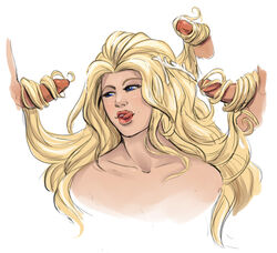 1girl 3boys artist_request bare_shoulders blonde_hair blue_eyes cock dc dc_comics dora_leigh dorcas_leigh female godiva lips long_hair male multiple_boys multiple_penises penis source_request tagme teeth tongue tongue_out very_long_hair