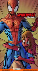 brown_hair buldge dick_grab female incest jessica_drew mask peter_parker pussy r_ex scarlet_spider selfcest spider-man_(series) spider-woman tracyscops ultimate_spider-man