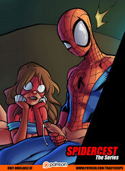 brown_hair ejaculation female incest jessica_drew mask peter_parker r-ex scarlet_spider selfcest spider-man_(series) spider-woman staring tracyscops ultimate_spider-man