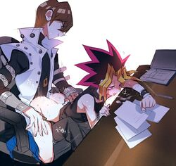 2boys anal blush brown_hair chair cum drooling kaiba_seto male_focus multiple_boys mutou_yuugi riding saliva sex short_hair sweat tagme yaoi yu-gi-oh!