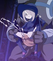 boots clitoris cum dress ejaculation erection female grinding hat little_witch_academia long_hair navel penis pussy skirt_lift smile spread_legs sucy_manbabaran testicles uncensored witch zone
