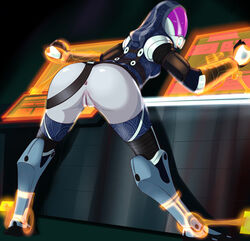 2014 ass bondage bottomless color dat_ass female mass_effect pussy restrained solo solo_focus tali'zorah_nar_rayya throat_(artist) uncensored