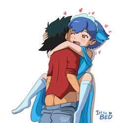 1boy ;d arm arm_around_neck ass black_hair blue_dress blue_hair blush carrying clothed_sex couple darkgargo! dress english female happy happy_sex heart hug millefeui_(pokemon) moaning nintendo one_eye_closed open_mouth pokemon pokemon_(anime) pokemon_xy red_eyes satoshi_(pokemon) sex short_hair smile spread_legs wince