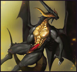 abs animal_genitalia animal_penis anthro bahamut biceps black_scales claws cloaca custom_penis digitigrade dragon eyeless final_fantasy final_fantasy_ix horn male muscular muscular_male nude pecs penis reptile scales scalie simple_background slit solo spread_wings square_enix tapering_penis teeth unusual_penis video_games western_dragon wings yellow_scales