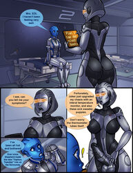 alien asari bender_bending_rodriguez big_breasts breasts clothing comic crossover dialogue dickgirl digital_media_(artwork) doctor duo_focus edi english_text erection examination female freckles futurama group humanoid intersex liara_t'soni machine mass_effect medical not_furry on_table patient penis robot shia shia_(artist) sitting standing text tight_clothing unprofessional_behavior video_games
