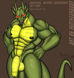 abs balls dragon flaccid green_scales hi_res humanoid_penis jackie_chan_adventures looking_at_viewer male muscular nipples penis red_eyes renthedragon scales shendu solo tongue uncut yellow_scales