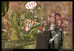 akabur harry_potter hermione_granger monster plant ron_weasley tagme tentacle