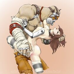 ass borderlands borderlands_2 breasts cb350four choker female gaige hair_grab krieg legwear male mask sex straight