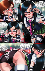 2girls ass black_hair black_panties black_underwear blue_eyes brown_eyes brown_hair cameltoe comic dialog earring glasses helen_parr mother_and_daughter rain school_uniform shadman skirt speech_bubble spiked_bracelet the_incredibles therealshadman thigh_highs violet_parr