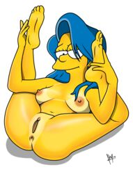 anus areola badbrains blue_hair breasts female human looking_at_viewer marge_simpson nipples pussy solo the_simpsons