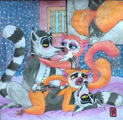 all_hail_king_julien anal anal_sex birth_mark blue_eyes blush bow_tie clover_(madagascar) crimson_(madagascar) crowned_lemur cum double_penetration dreamworks female french_kissing fur green_eyes grey_fur group group_sex hi_res king_julien kissing madagascar magic_steve male male/female orange_fur orgasm penetration penis puku83 pussy ringtail sex sibling the_penguins_of_madagascar twins vaginal_penetration vaginal_penetration yellow_eyes