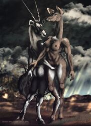 2016 antelope anthro antlers ass big_breasts breasts brown_fur cervine cloud deer digital_media_(artwork) drawing duo female female/female fur grope hooves horn mammal nipples nude oryx outside penetration pussy romantic_couple sky smexyoryx storm vaginal_penetration
