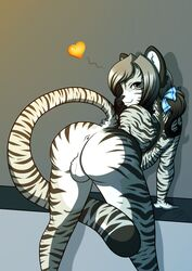 2016 absurd_res anthro anus ass backsack balls big_butt feline femboy fur girly hair_ribbon heart hi_res looking_back male mammal presenting presenting_hindquarters rearhwhitetail ribbons simple_background solo striped_fur stripes tiger trap twintails twintails_(disambiguation) white_fur white_tiger whitetail