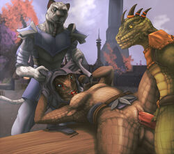 anthro argonian armor breasts clothes elder_scrolls_online feline female flat_chested fur khajiit lizardlars lying male mammal nude on_back penetration penis pussy reptile scales scalie sex spread_legs spreading straight table_lotus_position the_elder_scrolls vaginal_penetration video_games