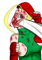 cammy_white fingerless_gloves gore guro punch ryona street_fighter