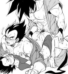 abs anal ass bara black_hair blush cum cum_drip cum_in_ass cum_while_penetrated dragon_ball_(series) dragon_ball_z drooling male multiple_males muscles pecs saliva sex son_gohan son_goku straddling tagme undressing vegeta wince yaoi