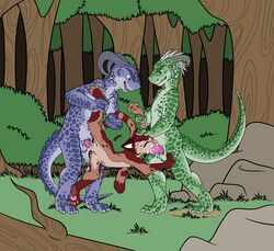 alternate_version_available animal_genitalia argonian arm_grab balls barefoot closed_eyes crying cum cum_from_mouth cum_in_mouth cum_inside digital_media_(artwork) digitigrade erection evil_face feline feline fellatio female flat_colors forced forced_oral forest genital_slit group group_sex horn leg_grab lifted male male/female mammal mizzyam nude oral oral_penetration outside pawpads penetration rape scalie sex slit tears the_elder_scrolls threesome tree two_doms_one_sub vaginal_penetration vaginal_penetration video_games