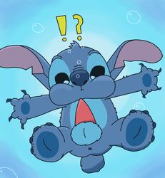 balls breath_holding bubble confusion disney erection floating fur lilo_and_stitch male male_only miracle227 partially_submerged penis solo spread_legs spreading stitch underwater water
