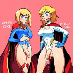 2girls blonde_hair blue_eyes blush cape cleavage_cutout crap-man crotch_cutout dc_comics foreskin full-package_futanari futanari leotard multiple_girls penis power_girl precum short_hair supergirl superman_(series)