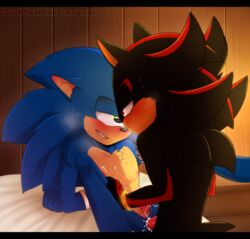 anal anal_sex biting_lip blush cum cum_in_ass cum_inside duckyeah duo green_eyes half-closed_eyes male male/male nipples penetration red_eyes sex shadow_the_hedgehog sonic_(series) sonic_the_hedgehog sweat