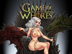 areolae blue_eyes breasts daenerys_targaryen dragon female game_of_thrones human iron_throne looking_at_viewer nude silver_hair sitting