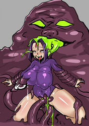 1girl ahe_gao artist_request aural blush bottomless brain_injection breast_sucking breasts clothes dc dc_comics female female_only femsub green_eyes green_goo green_tentacles huge_breasts lactation milk raven rolling_eyes smile teen_titans tentacles vaginal_insertion