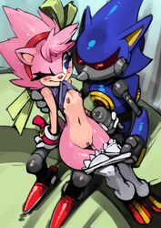 1boy amy_rose amy_rose/metal_sonic anthro blue_eyes blush clothes desktop_size erection female female flat_chest furry grey_penis handjob hedgehog hedgehog_girl male metal_penis metal_sonic nipples no_link penis pussy red_eyes