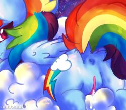 2016 anus ass cloud cutie_mark digital_media_(artwork) equine feathered_wings feathers female friendship_is_magic frown fur hair horse iroxykun looking_at_viewer looking_back mammal multicolored_hair my_little_pony night nude outside pegasus pony pussy pussy_juice rainbow_dash_(mlp) rainbow_hair raised_tail sky solo space wet wings