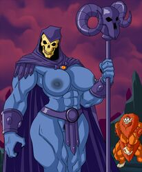 2016 areola beastman big_breasts breasts clothed clothing erect_nipples female lordstevie male muscular muscular_female nipples pubes pussy rule_63 skeletor skimpy undead