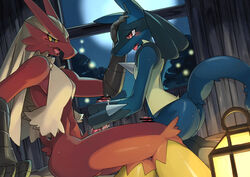 avian blaziken canine censored duo fur handjob humanoid_penis hydride lucario male male/male mammal nintendo penis pokemon red_eyes video_games