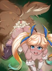 all_fours anus ass-to-ass blonde_hair blue_eyes blue_hair breasts cum cum_in_pussy cum_inside cumdrip dragging elbow_gloves forest gradient_hair granblue_fantasy green_hair io_(granblue_fantasy) io_euclase knot knotted knotted_penis knotting kokoankou long_hair motion_lines multicolored_hair nipples open_mouth overflow sex tail tears testicles thighhighs twintails vaginal_penetration wolf zoophilia