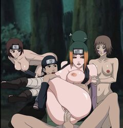 3girls anal anal_sex brown_hair female female_on_top forest green_hair human maki_(naruto) male multiple_girls naruto ninja nude orgy pakura ruka_(naruto) sex tagme