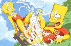 arabatos bart_simpson brother brother_and_sister cum cum_everywhere duo excessive_cum female footjob grass incest lisa_simpson male outdoor public sandals sister sky smirk straight the_simpsons