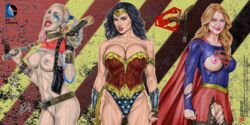 3girls actress armando_huerta ass bare_shoulders baseball_bat batman_(series) batman_v_superman belly belt biceps big_breasts black_hair blonde_hair blue_eyes blue_hair bracelet breasts cameltoe cape celebrity choker cleavage clothed clothes colorized covered_nipples dc dc_comics dceu diana_prince earrings erect_nipples eyelashes female fingerless_gloves gal_gadot gloves gun harley_quinn high_resolution holster jewelry kara_danvers kara_zor-el large_breasts lasso legs lips lipstick long_hair looking_at_viewer makeup margot_robbie melissa_benoist multicolored_hair multiple_girls nail_polish navel nipples open_mouth outfit panties pantyhose piercing pink_hair pussy red_lips red_lipstick rope shirt shoulder shoulders skirt spiked_bracelet spikes suicide_squad supergirl superman_(series) tattoo tattoos teeth thighs tiara tied_hair tongue torn_clothes torn_pantyhose twintails vagina weapon wonder_woman wonder_woman_(series)