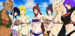 6+girls bikini black_hair blonde_hair breasts brown_hair cleavage dark_skin hyuuga_hinata konan labret_piercing large_breasts long_hair looking_at_viewer mabui mattsun_(lyohei-adgjmptw) mitarashi_anko multiple_girls nail_polish naruto naruto_shippuuden purple_hair samui silver_hair swimsuit terumi_mei tsunade