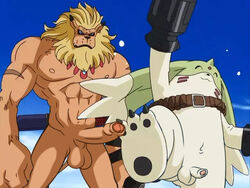 anthro digimon duo erection gargomon leomon lion male male_only muscles penis