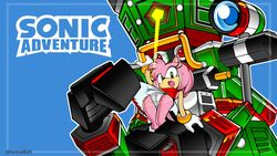 amy_rose anthro assisted_exposure camel_toe dress dress_lift female furry gloves green_eyes hairband hedgehog hotred is_(artist) looking_at_viewer panties robot sega sonic_(series) sonic_adventure surprised upskirt zero_(sonic)