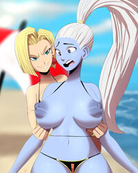 android_18 assisted_exposure bikini blonde_hair blue_skin breasts dragon_ball dragon_ball_super nipples swimsuit vados white_hair