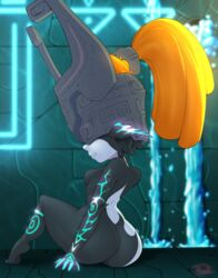 1girl ass female female_only from_behind gradient gradient_background helmet huge_ass imp imp_midna midna orange_hair pointy_ears ponytail sitting small_waist solo the_legend_of_zelda throat_(artist) twilight_princess waterfall wide_hips