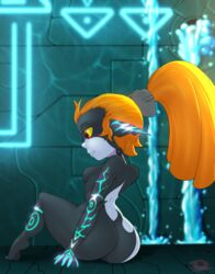 1girl ass female female_only from_behind gradient gradient_background huge_ass imp imp_midna midna orange_hair pointy_ears ponytail red_eyes sitting small_waist solo the_legend_of_zelda throat_(artist) twilight_princess waterfall wide_hips