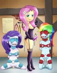 3girls anal_beads areolae ass ball_gag blindfold blue_eyes bondage breasts chains collar dildo dominatrix equestria_girls female femdom femsub fluttershy_(eg) fluttershy_(mlp) gag gloves human lipstick long_hair looking_at_viewer my_little_pony nipples pink_hair purple_hair rainbow_dash_(eq) rainbow_dash_(mlp) rarity_(eg) rarity_(mlp) riding_crop rope strapon vaginal_insertion vaginal_secretions vsdrawfag yuri