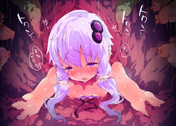 bare_shoulders blush breasts breath dress dress_pull female gas hair_ornament low_twintails nipples no_bra open_mouth petenshi_(dr._vermilion) purple_eyes purple_hair restrained saliva short_hair_with_long_locks solo stationary_restraints sweat tears tentacle through_wall translation_request twintails vocaloid voiceroid yuzuki_yukari