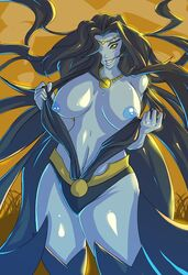 black_hair blue_skin breasts dc dc_comics female female_only jewelry large_breasts legs long_hair lyssa_drak necklace nipple nipples sinestro_corps solo thighs wckdart yellow_eyes