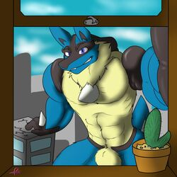 1boy animal_genitalia anthro anthrofied blue_eyes canine grin hi_res kotetsu_rexen lionel looking_at_viewer lucario macro male male_only mammal muscular nintendo nude pokémorph pokemon sheath solo video_games